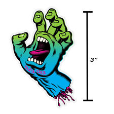 "3"" Neon Screaming Hand Santa Cruz Skateboard Sticker Old School Skate Surf New"