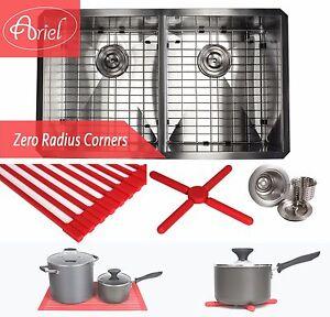"Ariel 32"" Zero Radius Double 50/50 Bowl Stainless Steel Kitchen Undermount Sink"
