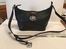 BRIGHTON BROWN AND BLACK LEATHER SHOULDER PURSE