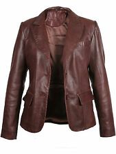 Women Leather Blazer Coat Ladies Brown Black Leather Blazer Coat Leather Biker