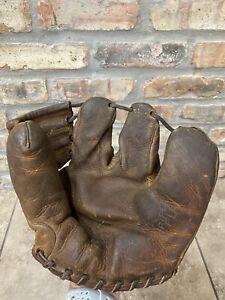 Vintage 1940s Spalding 190 Triple Play 3 Finger Baseball Glove Mitt Button Back
