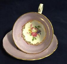 Vintage Purple and Painted Floral Bouquet Grosvenor Tea Cup and Saucer Set