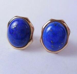 2.7g Fine 14k Yellow Gold Blue Lapis Lazuli Oval Cabochon Stud Post Earrings