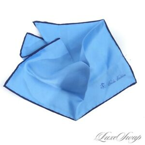 NWT Brooks Brothers Solid Topaz Blue Navy Piped Silk Hand Rolled Pocket Square