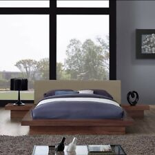 3 PIECE QUEEN FABRIC BEDROOM SET IN WALNUT LATTE