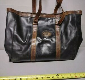 EDDIE BAUER Black & Brown Lg Leather Weekender Tote Shoulder Shopper Travel Bag