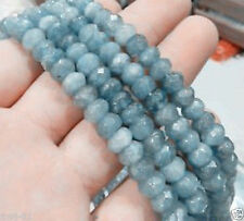 "5x8mm Faceted Natural Brazilian Aquamarine Gems Rondelle Loose Beads 15"" AAA"