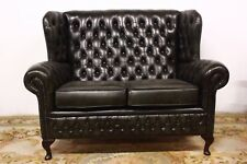 Divano Chesterfield originale 2 posti verde pelle inglese leather bergere alto