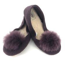 Ugg Andi Pom Pom Knit Ballet Slipper Size 10 NEW Plum 1098189