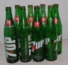 8 Vintage 7-Up Soda Pop BottleS Glass 16 fl. oz. 70'S GREEN GLASS CRAFTING DECOR