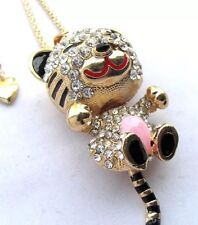 Betsey Johnson Baby Tiger Pink Stripped Tail Enamel Crystals Adorable