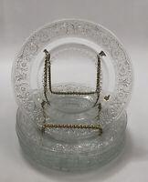 Set of 6 Vintage Glass KIG Malaysia Trellis Fleur de Lis Bread Dessert Plates AA