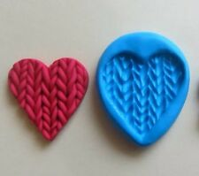 LG KNITTED HEART Mould Cupcakes Chocolate Sugarcraft Cake Topper  Fimo