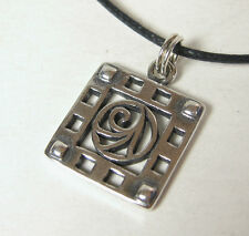 Celtic Rose Charm Pendant Necklace .925 Sterling Silver USA Made Scroll Stylized