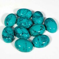Tibet Turquoise Cabochon Loose Gemstone Treated Oval 10 Pieces Lot 10X14MM Size