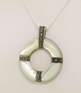 """NEW Sterling Silver Mother of Pearl Marcasite Life Saver 18"""" Pendant Necklace"""