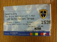 10/08/2004 Ticket: Cardiff City v Coventry City  . We try and inspect all our it