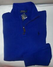 NWT MENS RALPH LAUREN L/S 1/4 ZIP TERRY SWEATER~BLUE~SZ LRG