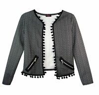 NEW KIDS GIRLS POM POM AZTEC PRINT ZIP WATERFALL CARDIGAN BLAZER JACKET TOP