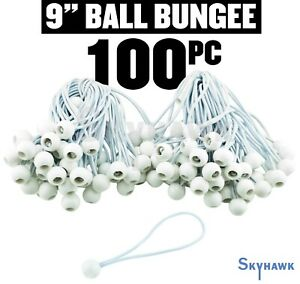 "(100)NEW 9"" White Ball Bungee Bungie Cord Heavy Duty Canopy Tarp Tie Down straps"