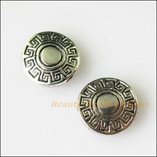 10Pcs Antiqued Silver Tone Round Flower Spacer Beads Charms 10mm