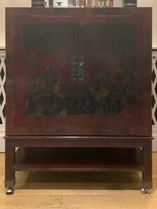 Vintage Chinese lacquer cabinet with hand-painted motifs