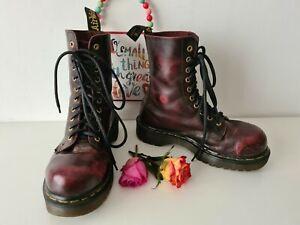 Dr Martens 1490 10 eye vintage cherry red burgundy england boots UK4 EU 37 US 6