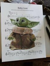 Baby Yoda Mandalorian signed art print Baby Love sheet music 8.5X11 drawing!