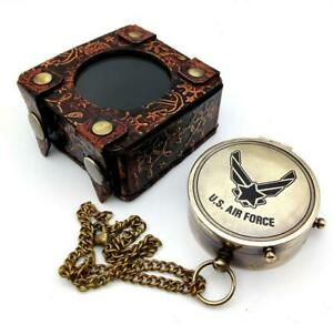 US AIR FORCE Engraved Brass Compass Gift/ Nautical Marine Gift A Perfect Gift
