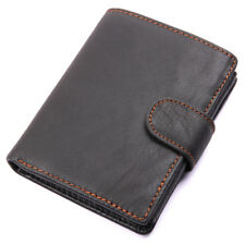 Men's Genuine Cow Leather Card Holder with Double ID Window Slots Black Wallets