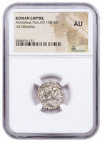 Roman Empire, Silver Denarius of Antoninus Pius (AD 138-161) NGC AU SKU52256