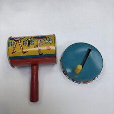 Vintage Tin Metal Toy Noise Maker Party Theme set of 2