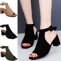 WOMENS BLOCK MID HEEL FLAT CUT OUT PEEP TOE LADIES ANKLE STRAP SANDALS SHOES