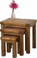 Rustic Solid Oak Nest of 2 Coffee Side End Tables Living Room Furniture