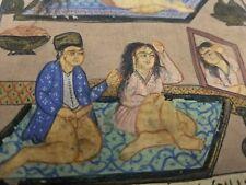 Hand Painted Mughal Maharajah Love Scene Miniature Painting India Art Harem Work