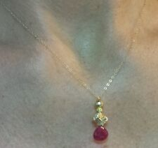 1 ctw genuine Ruby pendant necklace Solid 14k yellow gold flower nugget and