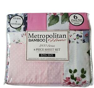 Metropolitan Bamboo Home 1800 Series 6 Piece King Size Set Pink Multi-Color
