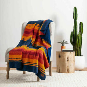 """Pendleton Grand Canyon Sherpa Fleece Blue/Orange Blanket Throw 50"""" x 70"""" NWT"""