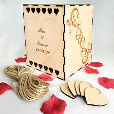 Scatola in Legno Matrimonio Libro Degli Ospiti Wishing Well-personalizzato con cuori decorazione regalo