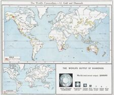 WORLD. Commodities - Sources of Gold & Diamonds 1907 antique map chart
