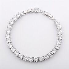 "New White Gold Filled White Round Topaz Silver Women Hot Tennis Bracelet 8.1"""