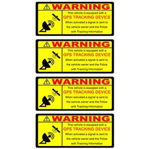 4 GPS TRACKING Security Warning Alarm Self Adhesive Back stickers Car Motorbike