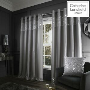 Catherine Lansfield Fully Lined Glitzy Glamour Silky Sheen Eyelet Curtains Grey