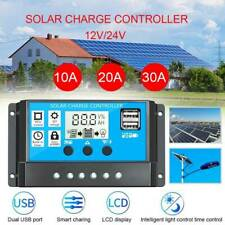 10-30A Solar Panel Battery Charge Controller 12V/24V LCD Regulator Auto Dual USB