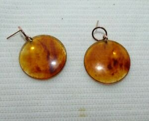 JEWELLERY LOVELY PAIR AMBER OR AMBER COLOURED EARRINGS TASMANIAN MADE 899