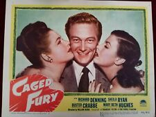 "1948 Vintage Original Lobby Card ""CAGED FURY"" Denning Ryan Crabbe 11x14 (D3)"