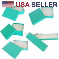 50 pcs Teal Green Cotton Filled Jewelry Gift Boxes With Variety Of Sizes