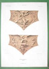 ARCHITECTURE PRINT : Berlin Town Hall Terracotta Design Nude Myth Figures Cupids