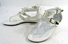 """Summer NEW white /GOLD SPIKES 1.5""""WEDGE SHOES SANDALS SIZE  6.5"""