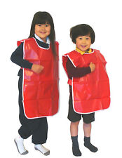 Childrens Popover Tabbard PVC Apron LARGE Age 7-8 yrs Red PVC Tabard 71cm x 66cm